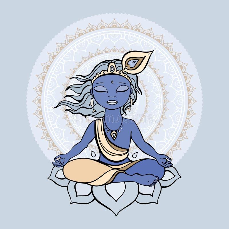Dios hindú Krishna stock de ilustración