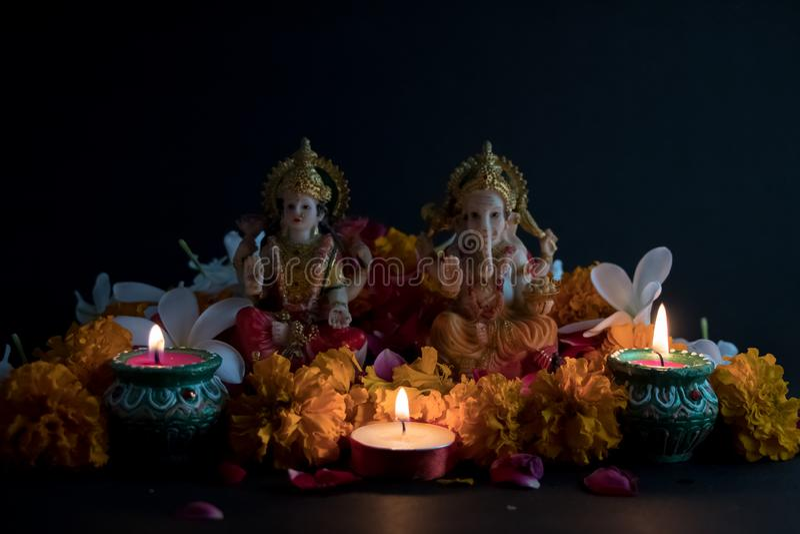 Dios hindú Laxmi Ganesh en el festival de Diwali imágenes de archivo libres de regalías