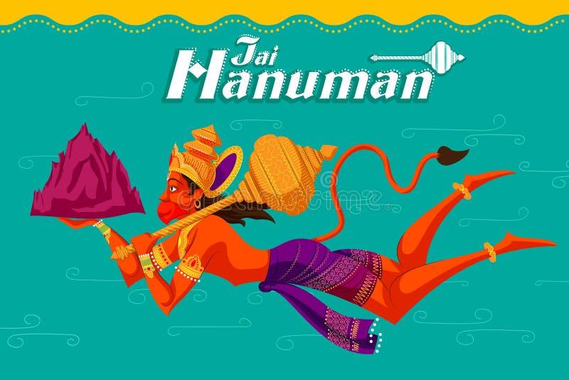 Dios indio Hanuman con la montaña ilustración del vector
