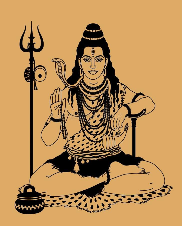 Dios indio Shiva ilustración del vector
