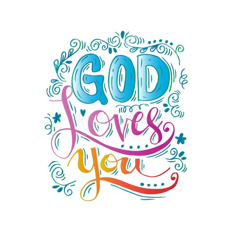 Dios le ama stock de ilustración