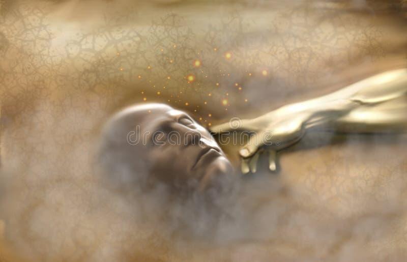 Dios que crea al primer hombre: Adán en el jardín de Eden ilustración del vector