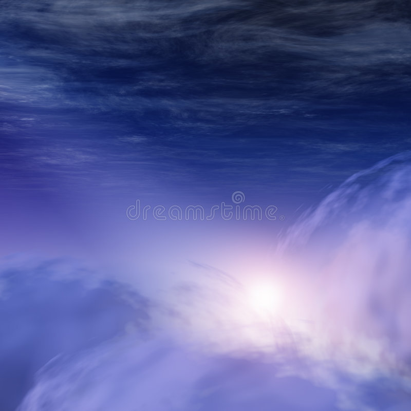 Dios-rayos en nubes celestes ilustración del vector
