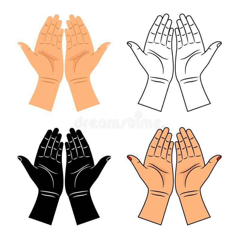 Dios ruega iconos bendecidos de las manos libre illustration