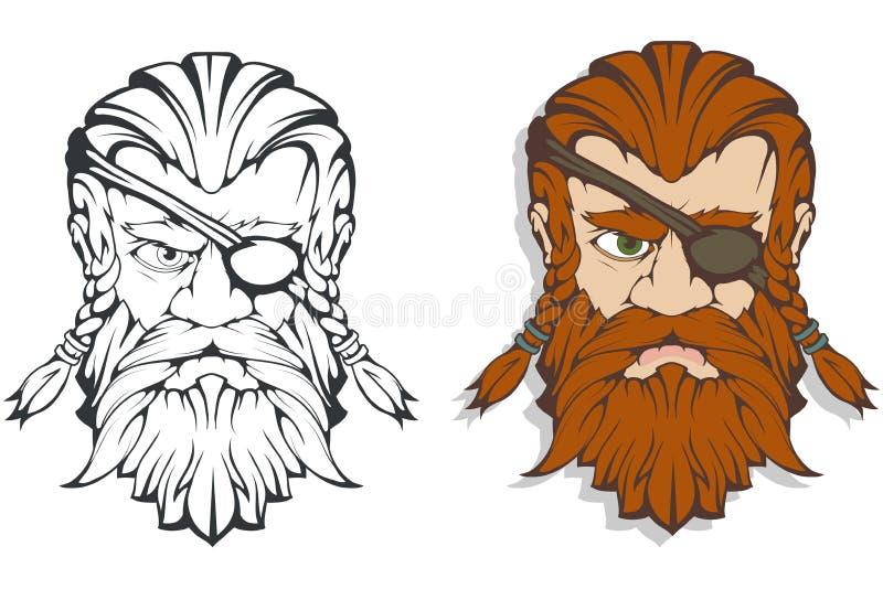 Dios supremo escandinavo de la mitología nórdica - Odin Dibujo de la mano de Odin Head Carácter barbudo del hombre de la historie libre illustration