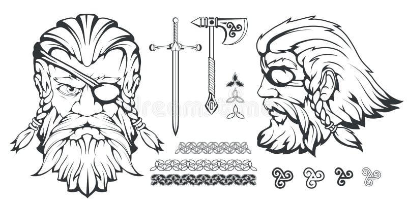 Dios supremo escandinavo de la mitología nórdica - Odin Dibujo de la mano de Odin Head Carácter barbudo del hombre de la historie ilustración del vector