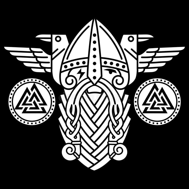 Dios Wotan, dos cuervos y escudos de las runas Ejemplo de la mitología nórdica stock de ilustración
