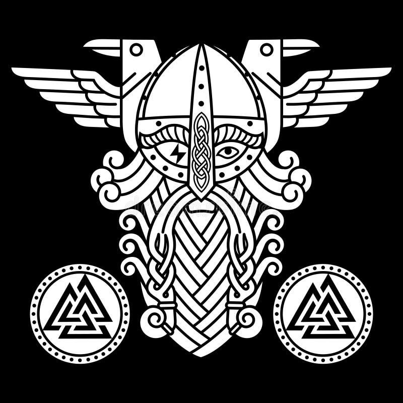 Dios Wotan, dos cuervos y escudos de las runas Ejemplo de la mitología nórdica ilustración del vector