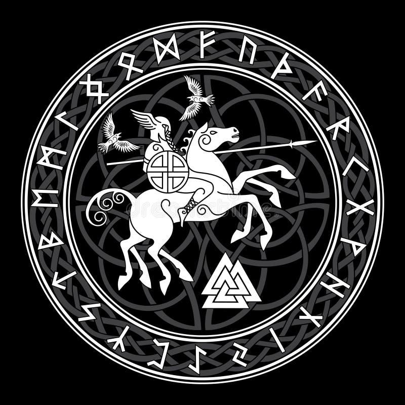 Dios Wotan, montando en un caballo Sleipnir con una lanza y dos cuervos en un círculo de runas nórdicas Ejemplo de los nórdises stock de ilustración