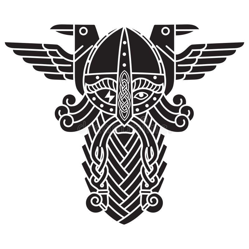 Dios Wotan, y dos cuervos Ejemplo de la mitología nórdica libre illustration