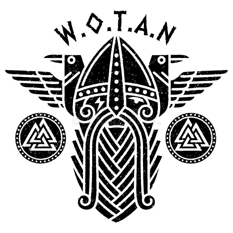 Dios Wotan y dos cuervos en un círculo de runas nórdicas Ejemplo de la mitología nórdica stock de ilustración