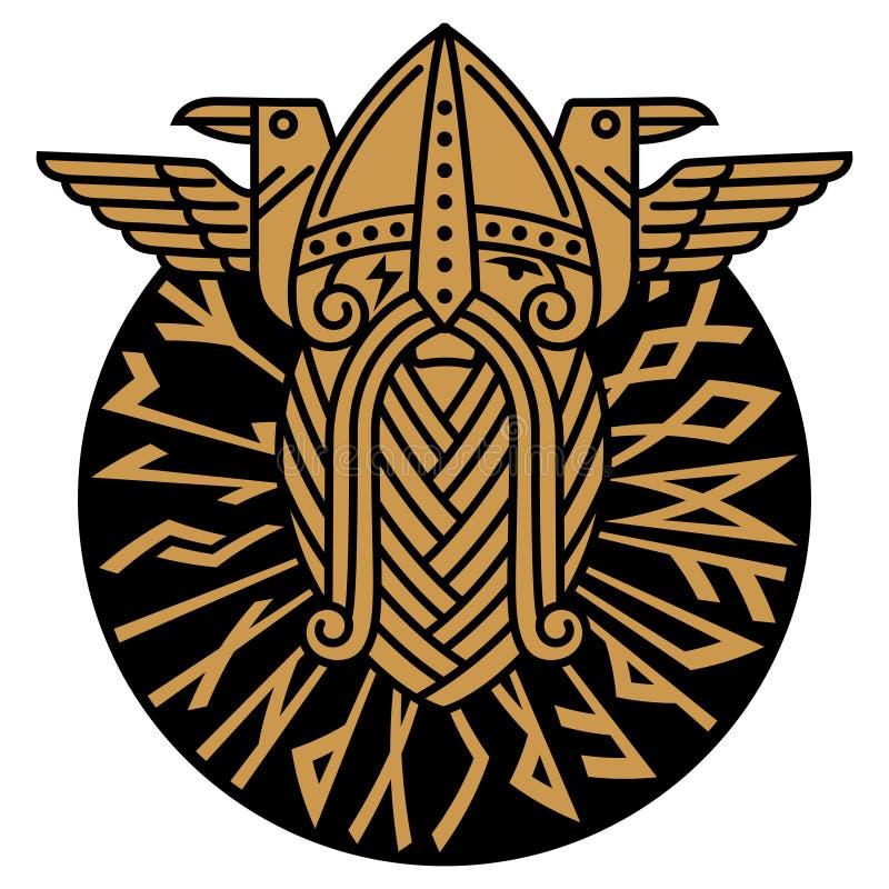 Dios Wotan y dos cuervos en un círculo de runas nórdicas Ejemplo de la mitología nórdica ilustración del vector