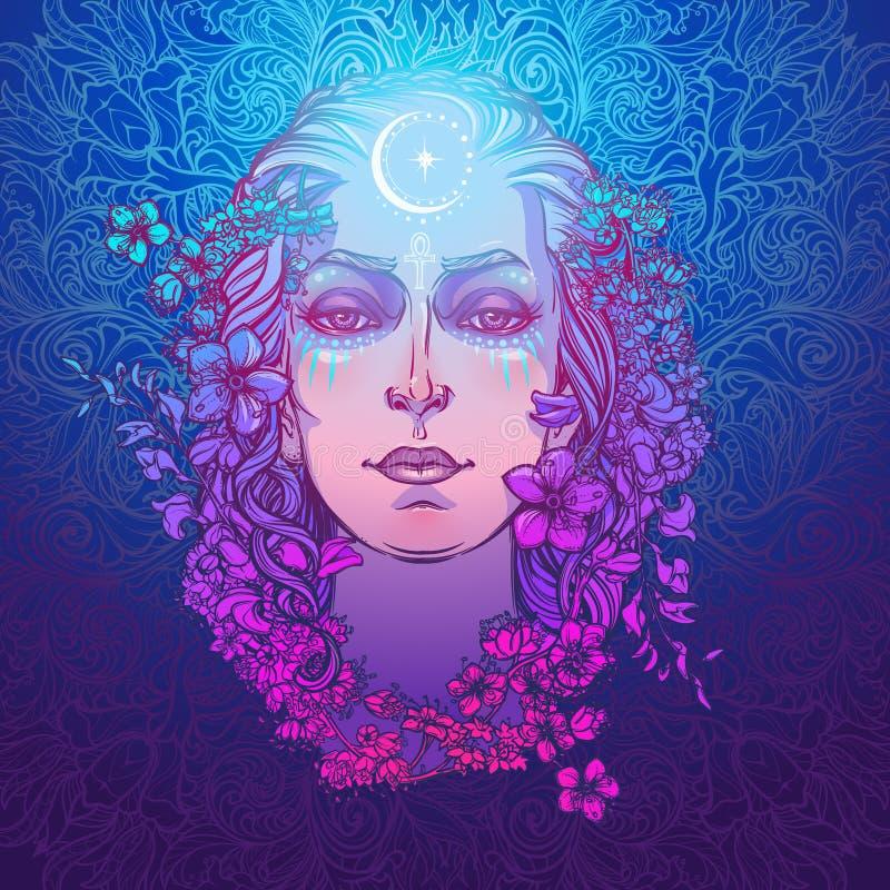 Diosa blanca de la cultura europea Símbolo de la feminidad, generación y muerte de la maternidad Sabido en diversas culturas como ilustración del vector