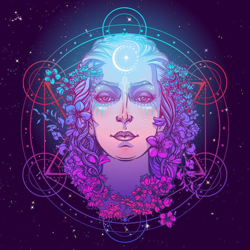 Diosa blanca de la cultura europea Símbolo de la feminidad, generación y muerte de la maternidad Sabido en diversas culturas como stock de ilustración