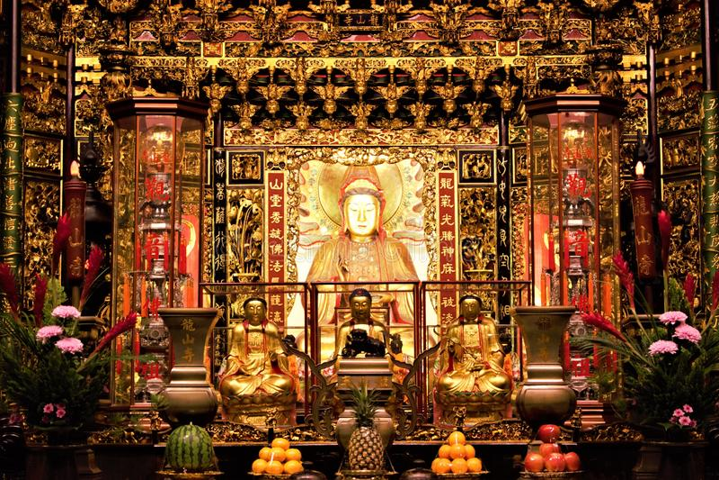 Diosa china Mazu del mar en templo fotografía de archivo