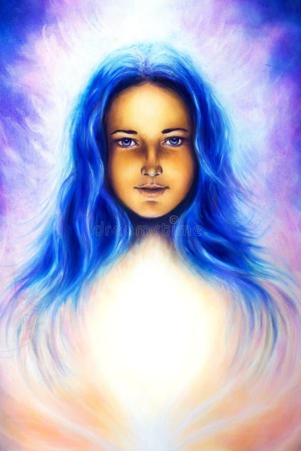 Diosa de la mujer con el pelo azul largo y la luz blanca, ojo azul espiritual, contacto visual stock de ilustración