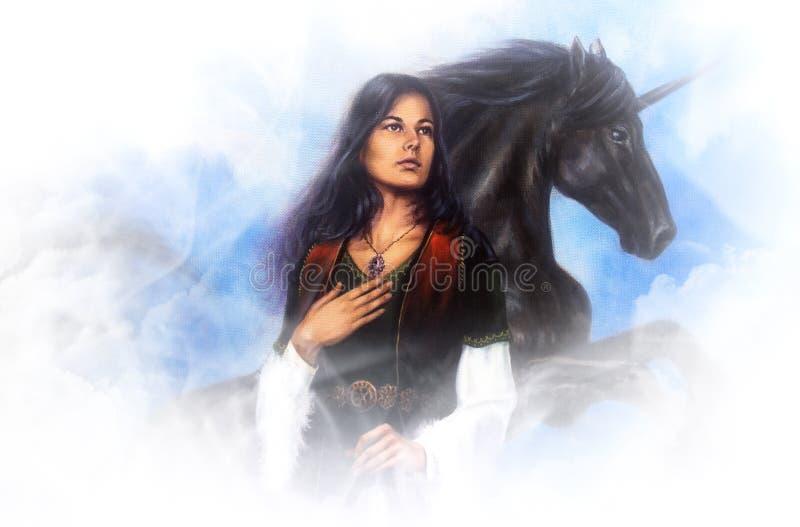 Diosa de la mujer en vestido histórico y un unicornio negro en las nubes, pintura al óleo detallada hermosa en lona fotos de archivo libres de regalías