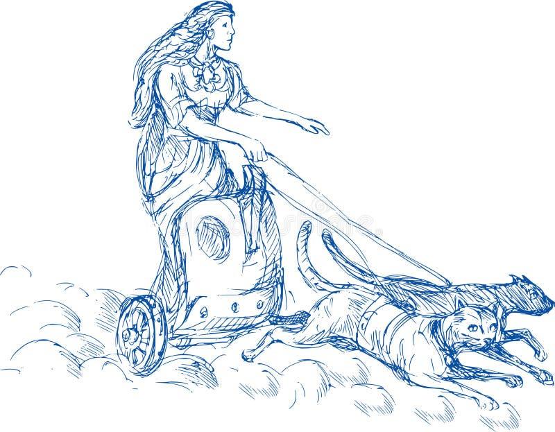 Diosa de los nórdises de Freya stock de ilustración