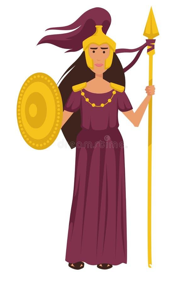 Diosa del griego clásico de Athena en carácter femenino aislado armadura del oro ilustración del vector