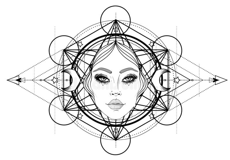 Diosa divina Muchacha blanco y negro sobre la muestra sagrada de la geometría, ejemplo aislado Bosquejo del tatuaje Símbolo místi libre illustration
