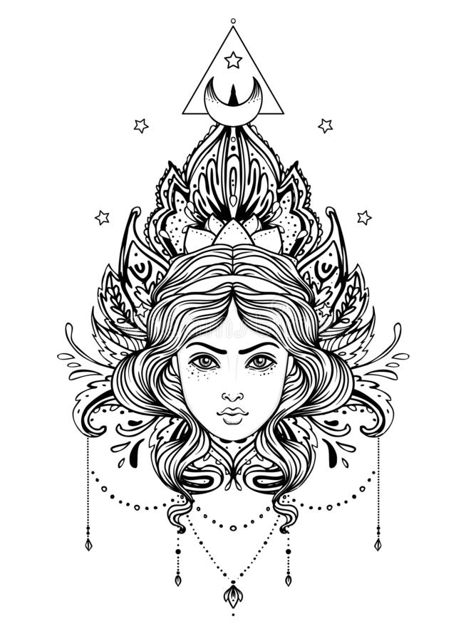 Diosa divina Muchacha blanco y negro sobre la muestra sagrada de la geometría, ejemplo aislado Bosquejo del tatuaje Símbolo místi ilustración del vector