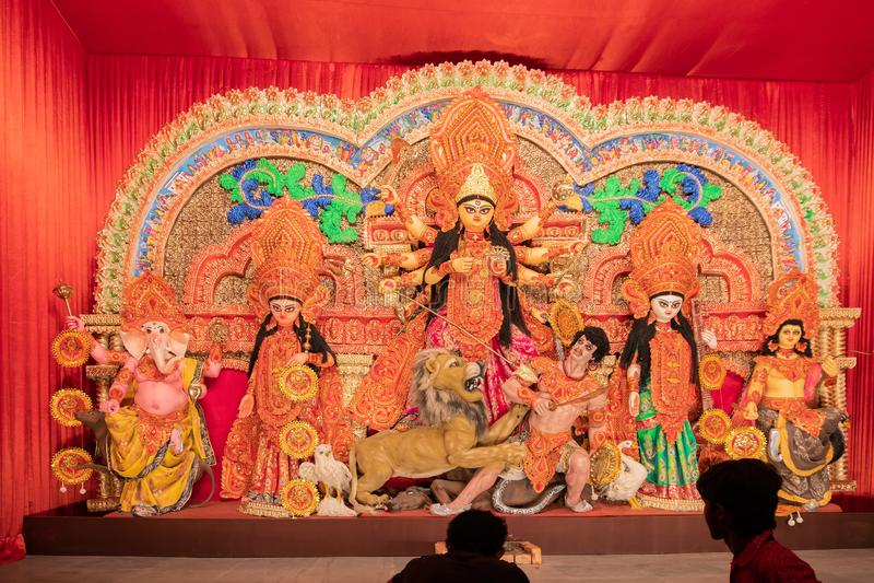 Diosa Durga Idol, Durga Puja Pandal, Kolkata, Bengala Occidental, la India foto de archivo libre de regalías