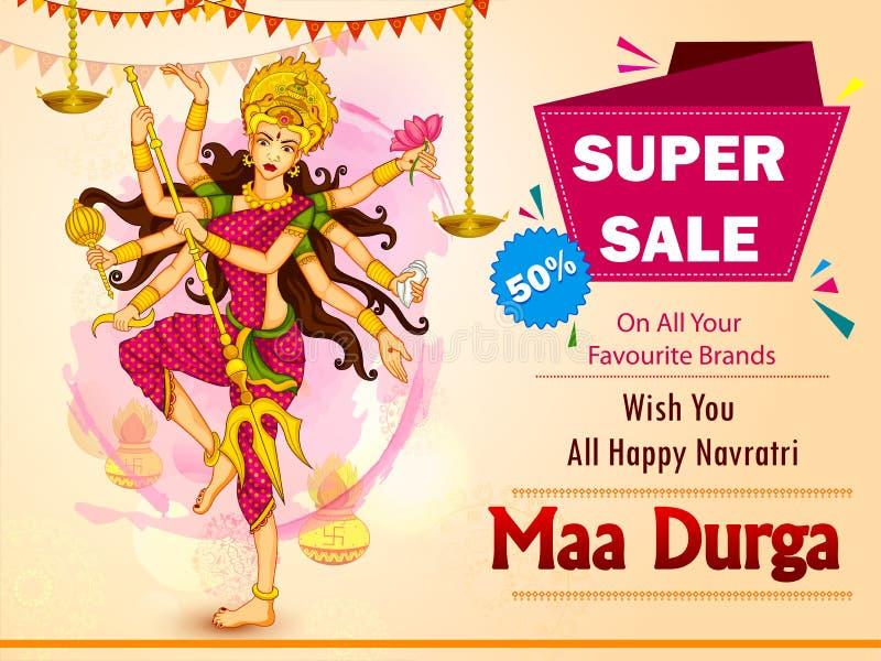 Diosa Durga para el fondo feliz de la venta de Dussehra y del anuncio de la promoción ilustración del vector