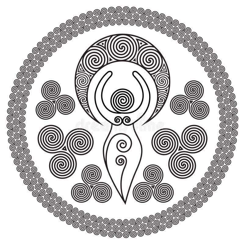 Diosa espiral antigua: Esta diosa delicada representa los poderes creativos del círculo femenino, e interminable divino o stock de ilustración