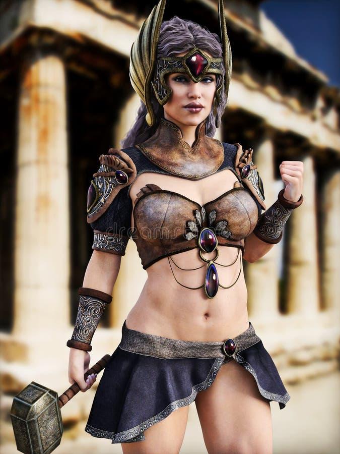 Diosa femenina de la guerra que presenta delante de la arquitectura griega libre illustration