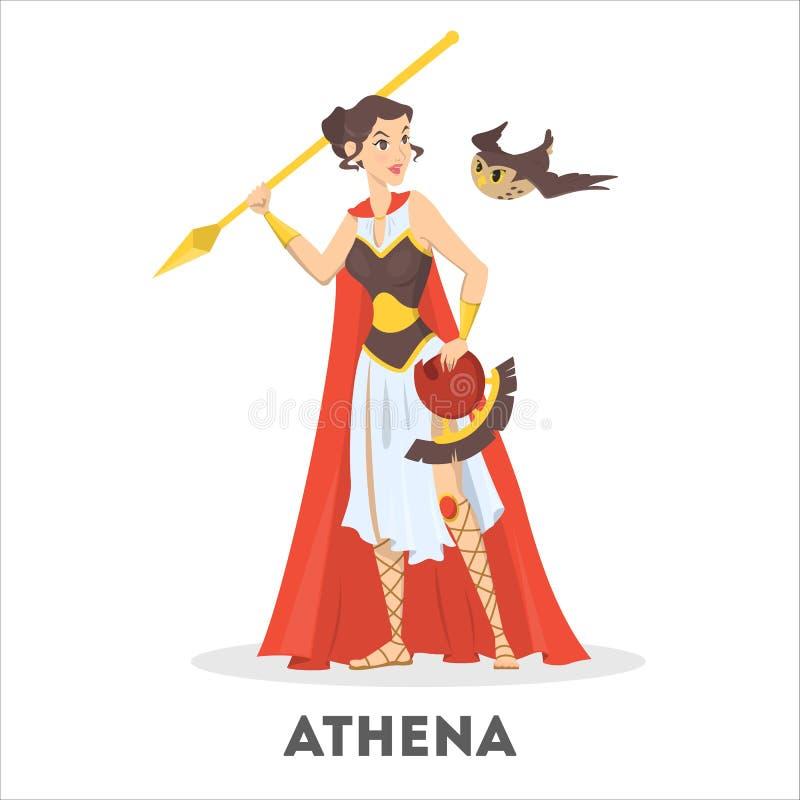 Diosa griega de Athena de la mitología antigua Carácter femenino libre illustration