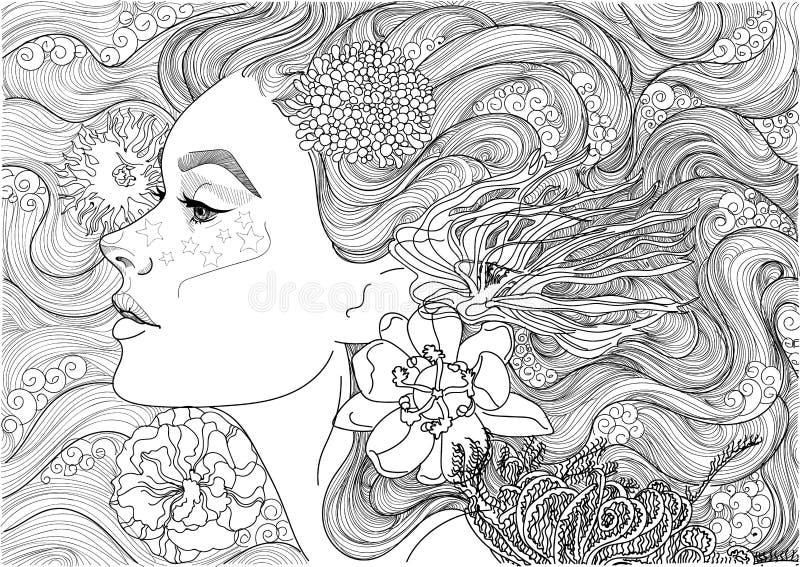 Diosa hermosa del mar, stock de ilustración