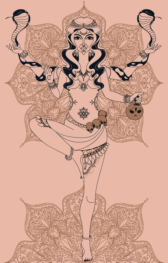 Diosa india de baile Kali con dos serpientes y el modelo redondo de la mandala tradicional ilustración del vector