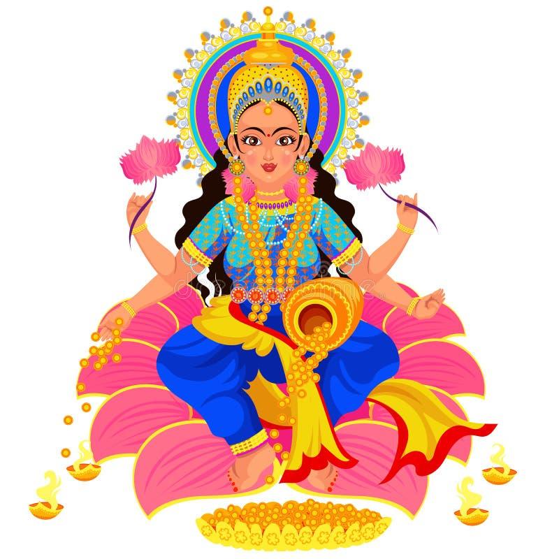 Diosa india de Lakshmi del día de fiesta de Diwali de la riqueza stock de ilustración