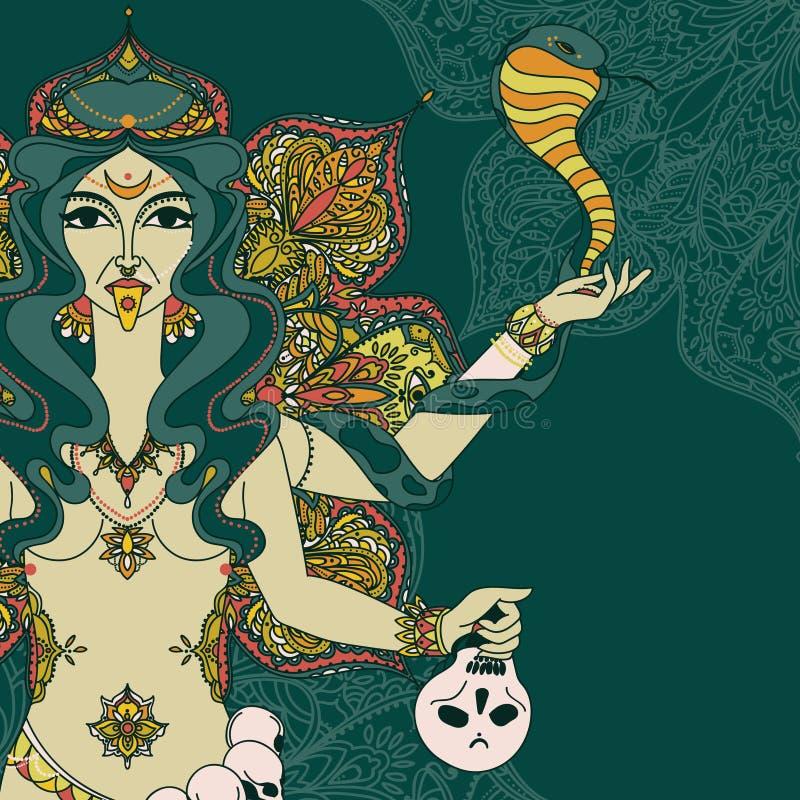 diosa india Kali con la serpiente, el cráneo y el ornamento redondo de la mandala stock de ilustración