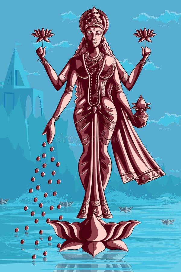 Diosa india Lakshmi en Lotus libre illustration