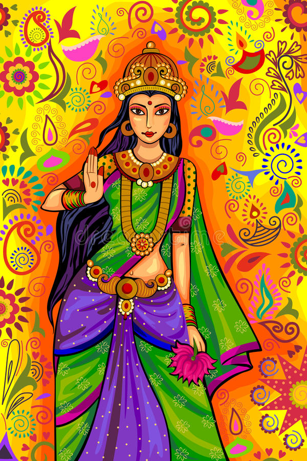 Diosa india Lakshmi para la celebración del festival de Diwali en la India ilustración del vector