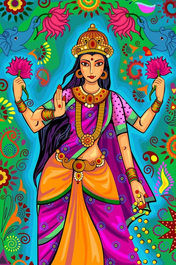 Diosa india Lakshmi para la celebración del festival de Diwali en la India libre illustration