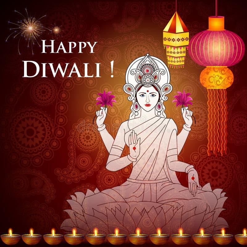 Diosa Lakshmi para Diwali feliz libre illustration