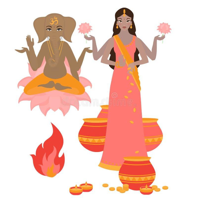 Diosa Lakshmi y Lord Ganesha, fondo del día de fiesta para el festival ligero de la India Tarjeta feliz de Diwali ilustración del vector