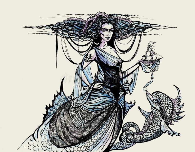 Diosa y delfín del océano stock de ilustración