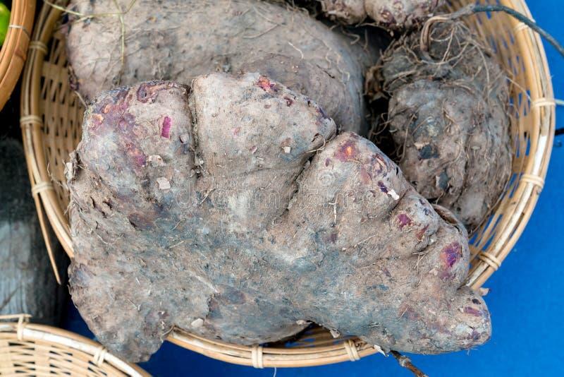 Dioscorea alata In the basket.  royalty free stock photos