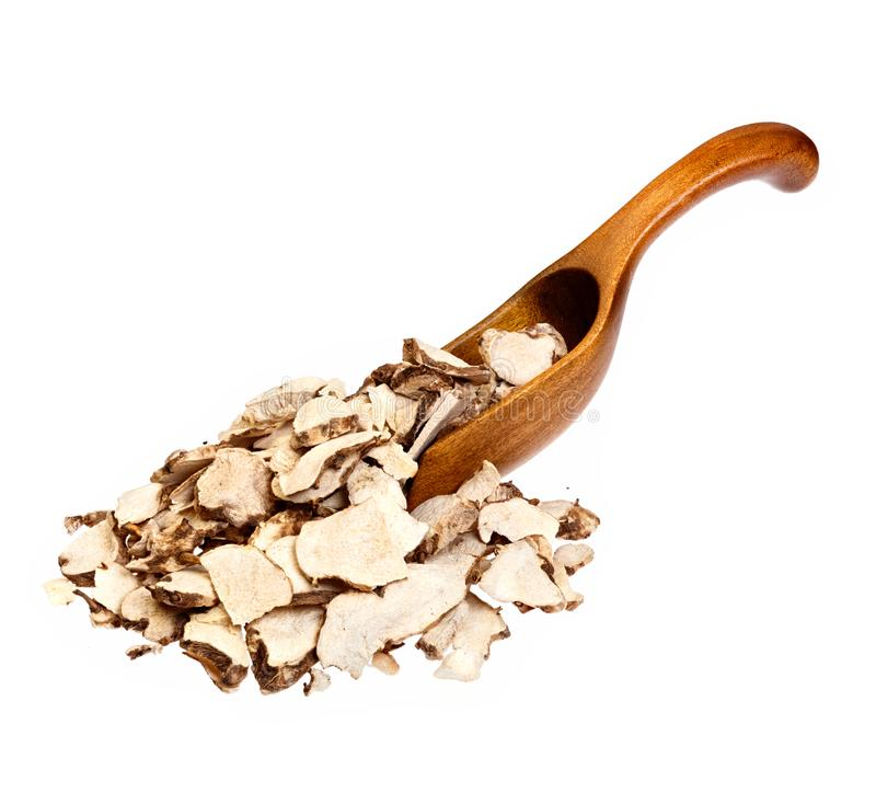 Dioscorea caucasica Angelica sinensis or Female Ginseng on wooden spoon. High resolution photo. royalty free stock photo