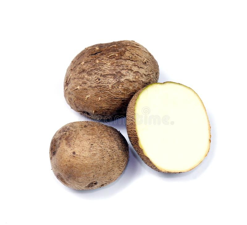 Dioscorea, mot thaïlandais de Mun-Neb, repli frais de dioscorea, lamelles de dioscorea s'enracinent d'isolement sur le fond blanc photographie stock