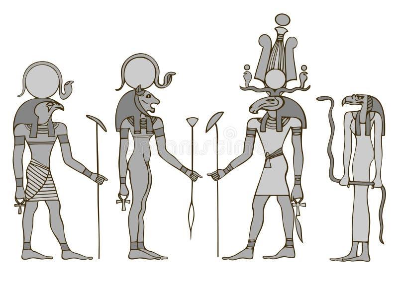 Dioses de Egipto antiguo stock de ilustración