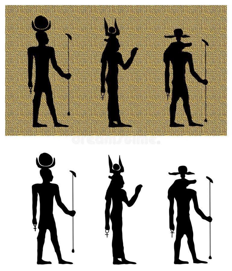 Dioses de las siluetas de Egipto antiguo ilustración del vector