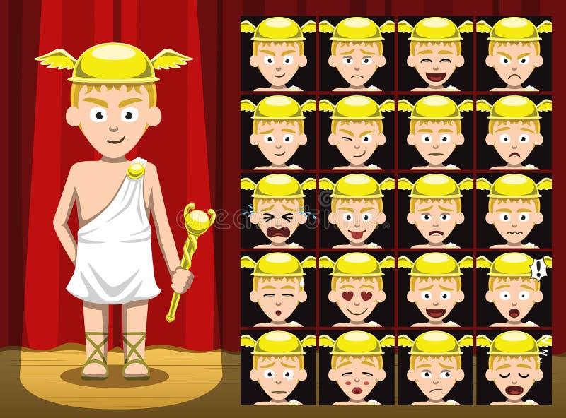 Dioses griegos Hermes Costume Cartoon Emotion hacen frente al ejemplo del vector libre illustration