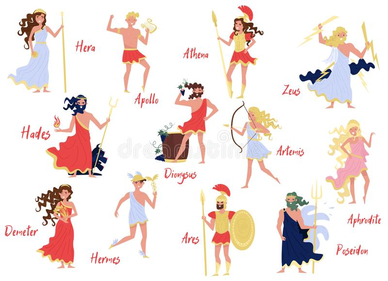 Dioses griegos olímpicos fijaron, Hera, Dionysus, Zeus, Demetra, Hermes, Ares, Artemis, Aphrodite, Poseidon, mitos de Grecia anti ilustración del vector