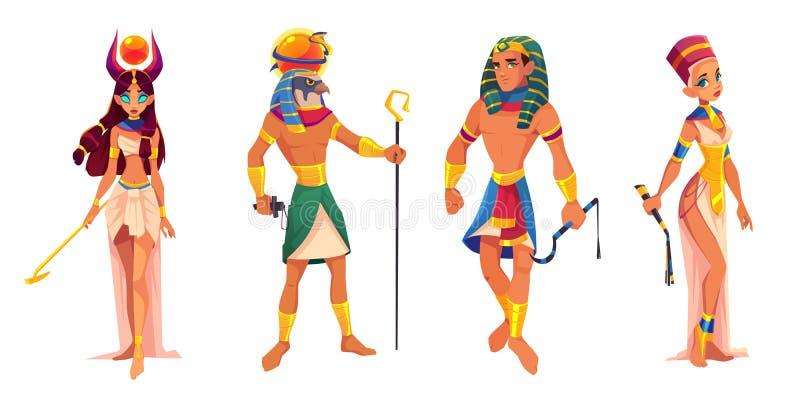 Dioses Hathor, Ra, faraón de las reglas, Nefertiti de Egipto stock de ilustración