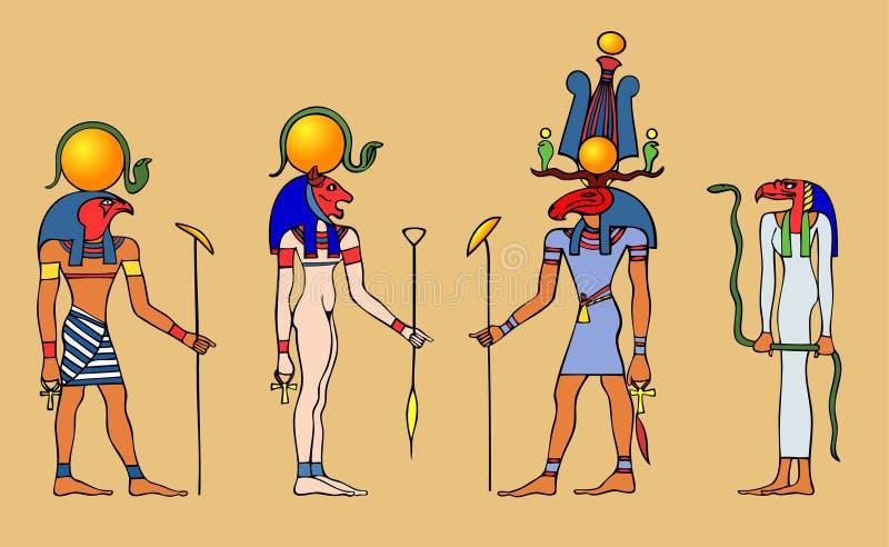 Dioses y diosa egipcios stock de ilustración