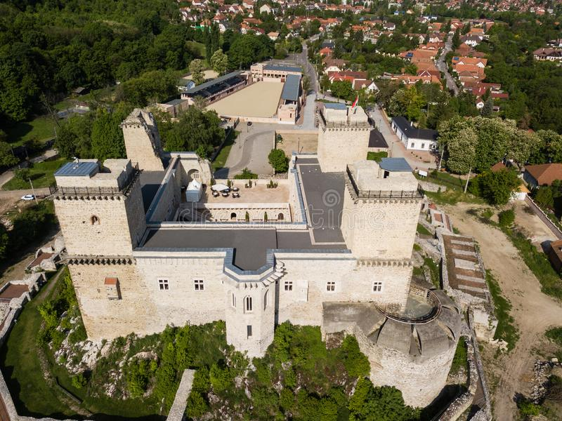 Diosgyor castle in the city of Miskolc, Hungary. Aerial view to Diosgyor castle in the city of Miskolc, Hungary, ancient, architecture, building, exterior, stone stock image